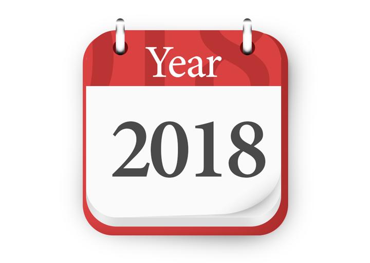 تقویم سال 2018 آیکون psd 1
